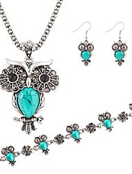 cheap -Hot 3 Color  Fashion Turquoise Owl Pendant Necklace Owl Drop Earring Wedding Jewelry Set