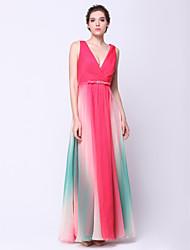 Недорогие -TS couture® выпускного вечера официально платье вечера - градиент цвета-линии V-образным вырезом до пят шифон с крестом крест