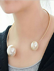 cheap -Women's Pearl Choker Necklace Pearl Necklace Mother Daughter Ladies European Fashion Pearl Alloy Gold White Necklace Jewelry For