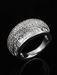 cheap -Women's Band Ring Cubic Zirconia Silver Sterling Silver Zircon Silver Plated Wedding Party Jewelry