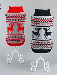 cheap -Cat Dog Sweater Winter Dog Clothes Black Red Costume Cotton Reindeer Christmas New Year's XS S M L XL XXL