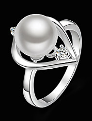 cheap -Women's Statement Ring Pearl White Brass Pearl Cubic Zirconia Ladies Fashion Party Jewelry Heart / Silver Plated / Imitation Diamond / Silver Plated