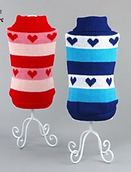 cheap -Cat Dog Sweater Winter Dog Clothes Red Blue Costume Cotton Heart Casual / Daily XS S M L XL XXL
