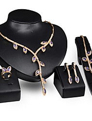 cheap -Jewelry Set Pendant Necklace Band Ring Ladies Vintage Party Link / Chain European Fashion Rose Gold Cubic Zirconia Earrings Jewelry Gold / Purple For Party Special Occasion Anniversary Birthday