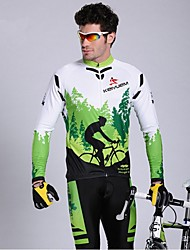 cheap -KEIYUEM Men's Long Sleeve Cycling Jersey with Tights Bike Tights Clothing Suit Waterproof Windproof Breathable Quick Dry Winter Sports Classic Clothing Apparel / Stretchy