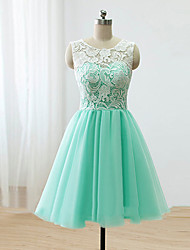 cheap -A-Line Scoop Neck Knee Length Lace / Satin / Tulle Bridesmaid Dress with Buttons / Lace by LAN TING Express