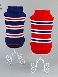 cheap -Cat Dog Sweater Winter Dog Clothes Red Blue Costume Cotton Stripes Casual / Daily Fashion XS S M L XL