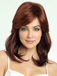 cheap -Human Hair Blend Wig Wavy Wavy Capless Dark Brown / Dark Auburn Beige Blonde / Bleach Blonde Dark Brown
