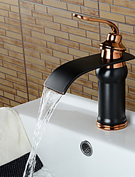 cheap -Black & Gold Bathroom Sink Faucet - Waterfall Oil-rubbed Bronze Widespread Single Handle One HoleBath Taps / Brass