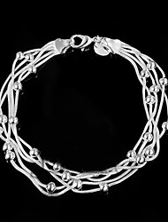 cheap -Women's Chain Bracelet Silver Plated Bracelet Jewelry Silver For Wedding Party Daily Casual