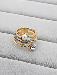 cheap -Women's Band Ring Pearl Rhinestone Imitation Diamond Ladies Fashion Wedding Party Jewelry