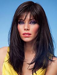 cheap -Human Hair Blend Wig Straight Straight Capless Dark Brown / Dark Auburn Beige Blonde / Bleach Blonde Dark Brown