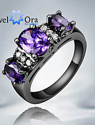 cheap -Women's Band Ring Cubic Zirconia Purple Screen Color Cubic Zirconia Gold Plated Fashion Party Jewelry