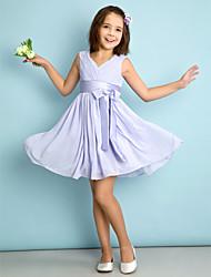 cheap -A-Line V Neck Knee Length Chiffon Junior Bridesmaid Dress with Bow(s) / Criss Cross / Natural