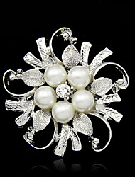 cheap -Women's Pearl Brooches Flower Ladies Fashion Imitation Pearl Silver Plated Brooch Jewelry Silver For Wedding Party Special Occasion Birthday Gift Daily