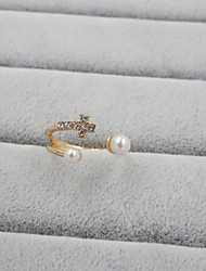 cheap -Women's Band Ring Pearl Pearl Rhinestone Imitation Diamond Ladies Luxury Open Wedding Party Jewelry Cross Adjustable / Alloy