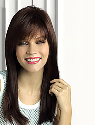 cheap -Human Hair Wig Straight Straight Capless Dark Brown / Dark Auburn Beige Blonde / Bleach Blonde Dark Brown