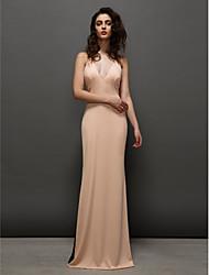 cheap -Sheath / Column Furcal Prom Formal Evening Dress V Neck Sleeveless Sweep / Brush Train Chiffon with Pleats Split Front 2020