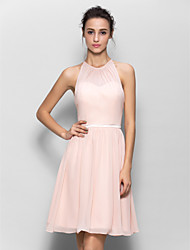 cheap -A-Line Jewel Neck Knee Length Georgette Bridesmaid Dress with Sash / Ribbon / Pleats