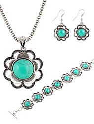 cheap -Hot 2 Color  Fashion Turquoise Flower Pendant Necklace Flower Drop Earring Wedding Jewelry Set