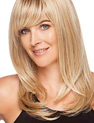 Недорогие -Человеческие волосы Парик Прямой Прямой силуэт Без шапочки-основы Бежевый Блондинка / Бледная блондинка Темно-коричневый # 6
