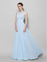 cheap -A-Line Halter Neck Floor Length Chiffon Bridesmaid Dress with Sash / Ribbon / Pleats / Open Back