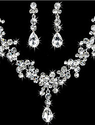 cheap -Women's Jewelry Set Pear Cut Ladies Elegant Bridal everyday Iced Out Rhinestone Earrings Jewelry For Wedding Party Birthday Gift Masquerade Engagement Party / Necklace