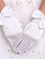 cheap -Stretch Satin Wrist Length Glove Bridal Gloves With Bowknot