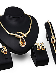 cheap -Crystal Jewelry Set Stud Earrings Pendant Necklace Pear Cut Statement Ladies Vintage Party Link / Chain European Zircon Cubic Zirconia Earrings Jewelry Gold / Orange For