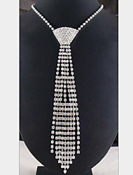 cheap -Women's Statement Necklace Long Necklace Tassel Fringe Long Ladies Tassel Silver Plated Imitation Diamond White Necklace Jewelry For