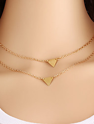 cheap -Hot Sales Fashion Jewelry Gold Triangle Double Chain Multilayers Necklace