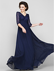 cheap -A-Line V Neck Ankle Length Chiffon / Beaded Lace Half Sleeve Open Back Mother of the Bride Dress with Lace / Ruched 2020