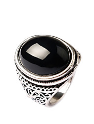 cheap -Women's Statement Ring Black Red Gold Plated Obsidian Ladies Fashion Party Jewelry Simulated