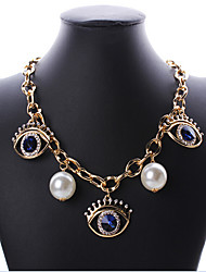 cheap -Women's Choker Necklace Evil Eye European Fashion Pearl Rhinestone Alloy Screen Color Evil Eye Necklace Jewelry For