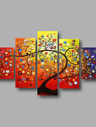cheap -Oil Painting Hand Painted - Floral / Botanical Modern Stretched Canvas / Five Panels