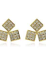 cheap -Women's Crystal Stud Earrings Crystal Silver Plated Gold Plated Earrings Jewelry Silver / Golden For Party Daily Casual