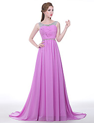 cheap -A-Line Formal Evening Dress Scoop Neck Sweep / Brush Train Chiffon with Side Draping 2021