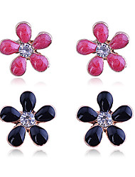 cheap -Women's Crystal Stud Earrings Earrings Set Flower Luxury Crystal Gold Plated Imitation Diamond Earrings Jewelry Black / Orange / Blue For Party Daily Casual