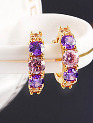 cheap -Women's Amethyst Stud Earrings Hoop Earrings 3 stone Past Present Future Ladies Bohemian Fashion Boho bridesmaid Color Earrings Jewelry Purple / Screen Color For Daily