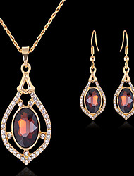 cheap -Jewelry Set Ladies Vintage Party Work European Cubic Zirconia Imitation Diamond Earrings Jewelry Gold For / Necklace