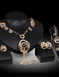 cheap -Lucky Doll Women's Luxury Gem 18K Gold Plated Necklace & Earrings & Bracelet & Ring Jewelry Sets