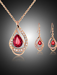 cheap -Jewelry Set Drop Party Cubic Zirconia Rose Gold Plated Imitation Diamond Earrings Jewelry Red / Green For / Necklace