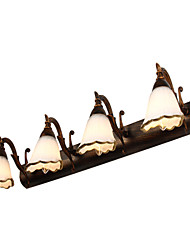 cheap -LED 4-Lights Vanity Light Mirror Lamp 64cm 12W Retro Rustic Vintage Wall Light Iron Matte Glass Shade for Hallway Bathroom