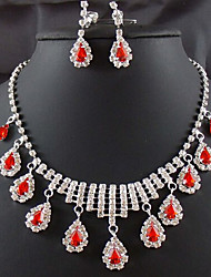 cheap -Drop Party Double-layer Cubic Zirconia Imitation Diamond Earrings Jewelry Red For / Necklace