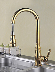 cheap -Kitchen faucet - Single Handle One Hole Ti-PVD Pull-out / ­Pull-down / Tall / ­High Arc Deck Mounted Traditional Kitchen Taps