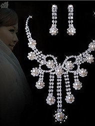 cheap -Rich Long Women's All Matching Luxury Plated Pearl Necklace & Earrings Jewelry Sets