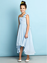 cheap -A-Line One Shoulder Asymmetrical Chiffon Junior Bridesmaid Dress with Criss Cross / Flower / Natural / Mini Me