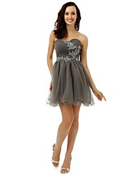 cheap -A-Line Fit & Flare Cocktail Party Dress Strapless Sleeveless Short / Mini Tulle with Crystals Sequin Pattern / Print 2021