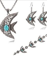 cheap -Hot Fashion Vintage Fish Turquoise Pendant Necklace Drop Earring Bracelet Jewelry Set