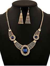 cheap -Crystal Jewelry Set Cubic Zirconia Vintage, Party, European Include Gold / Royal Blue For / Earrings / Necklace